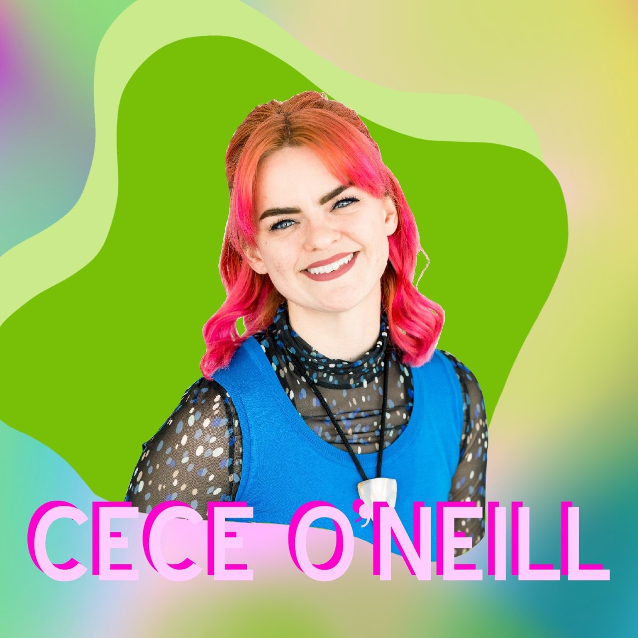 """""""CeCe O'Neill"""" superimposed over her headshot"""