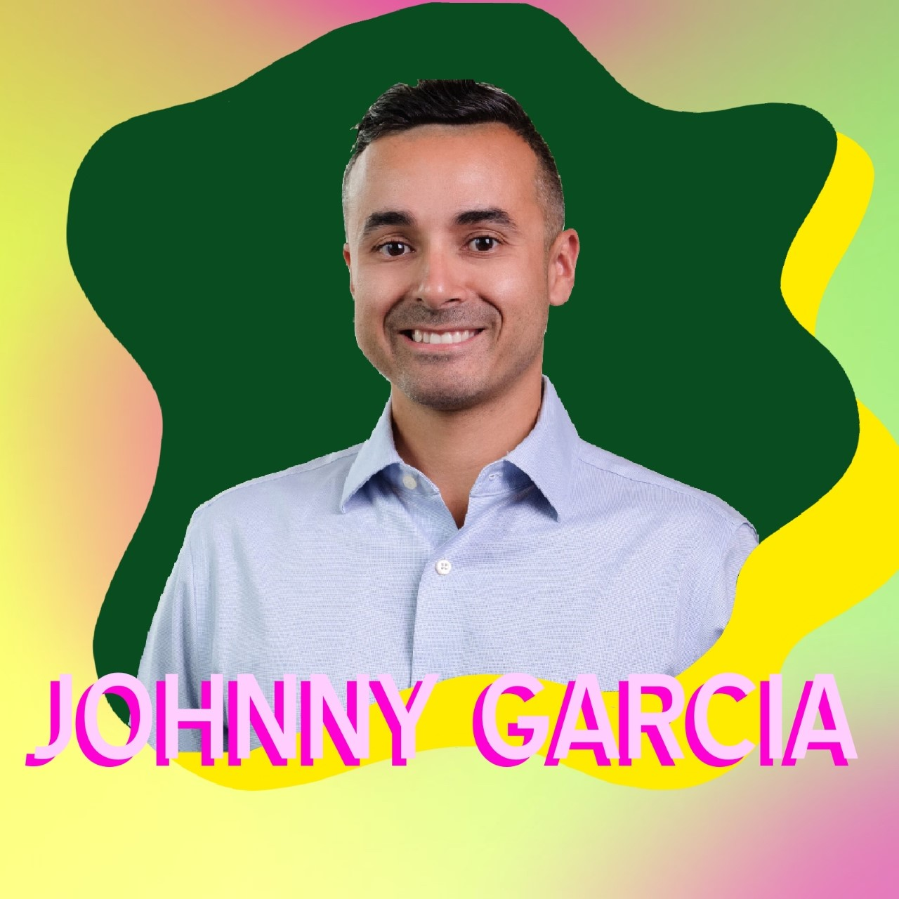 """Johnny Garcia"" superimposed over his headshot"