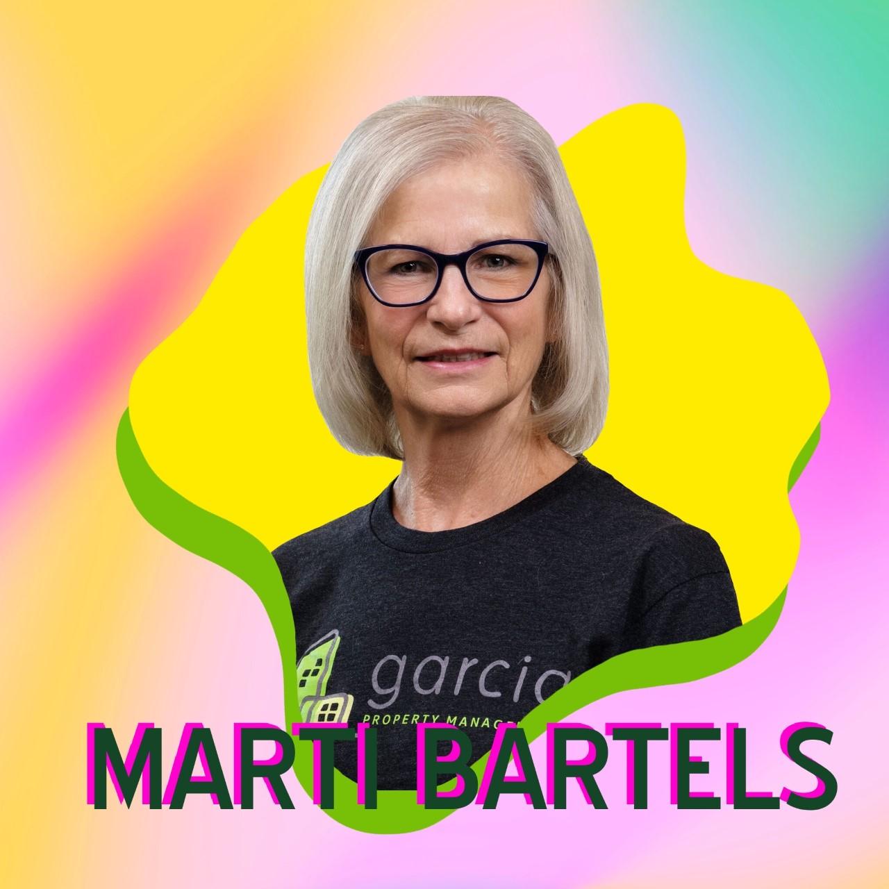 """Marti Bartels"" superimposed over her headshot"
