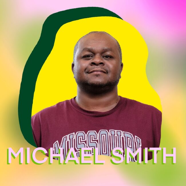 """""""Michael Smith"""" superimposed over his headshot"""
