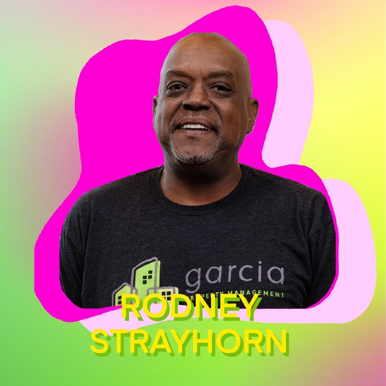 """Rodney Strayhorn"" superimposed over his headshot"