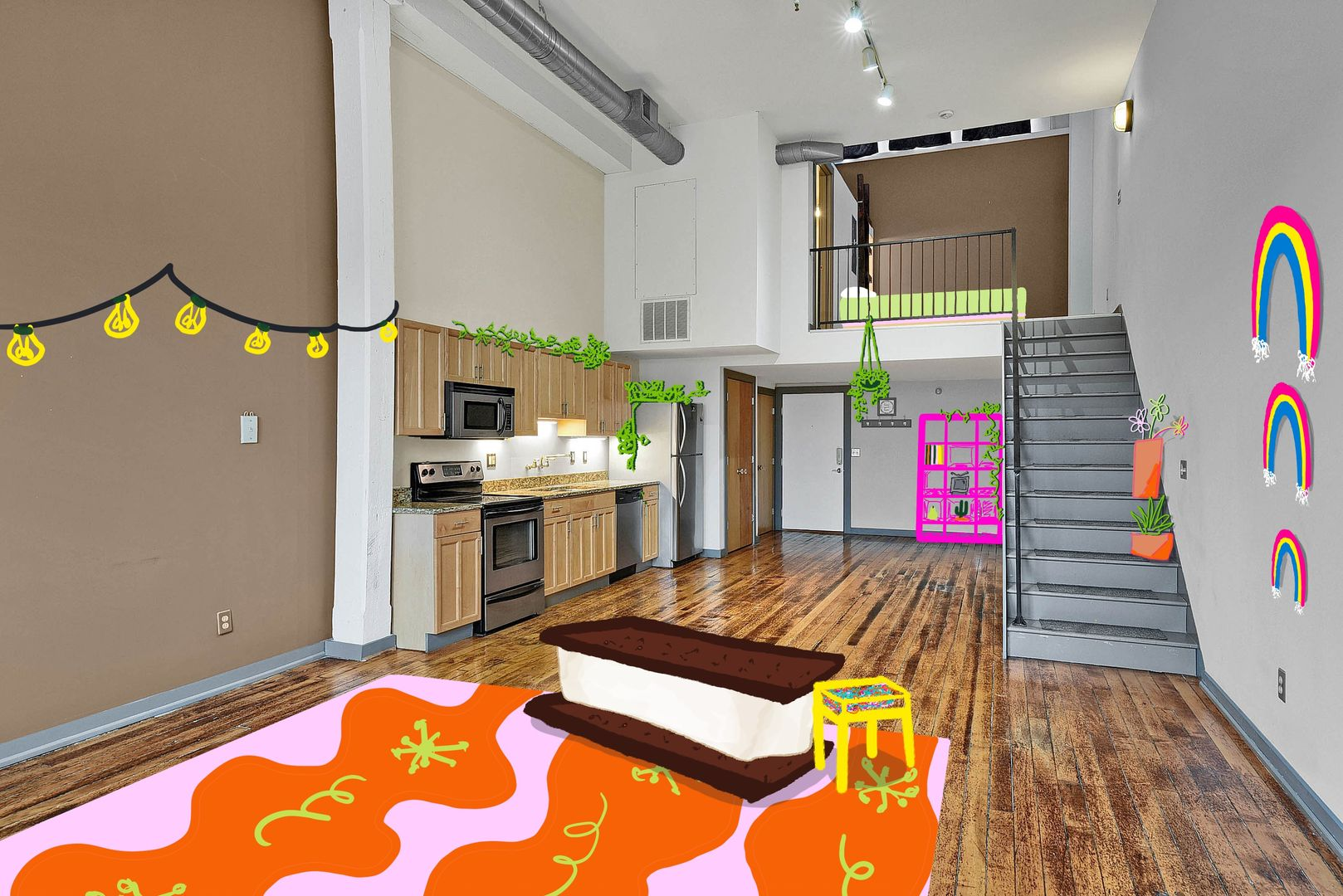 City loft with illustrations superimposed of furniture and decor