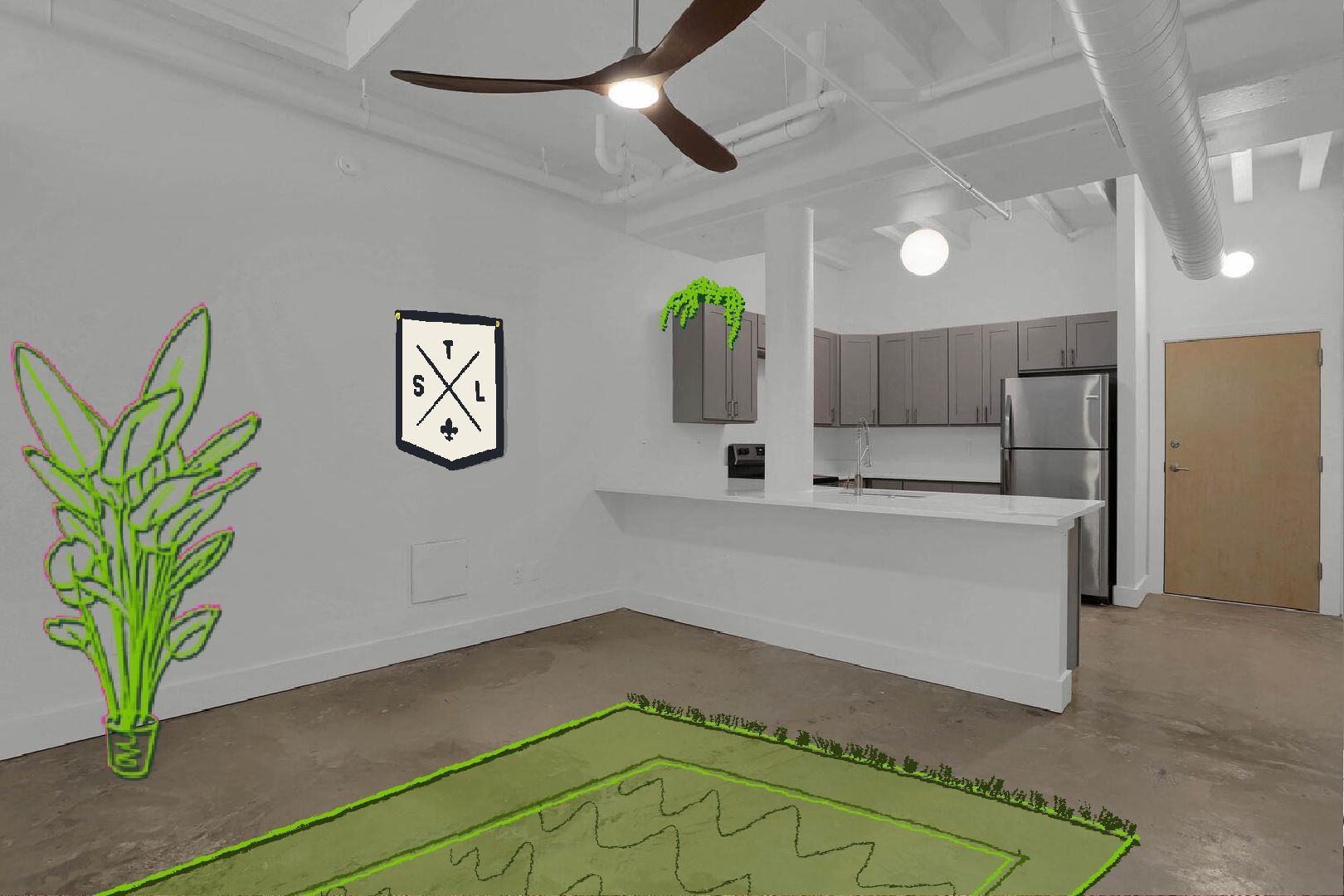 modern apartment with illustrations superimposed