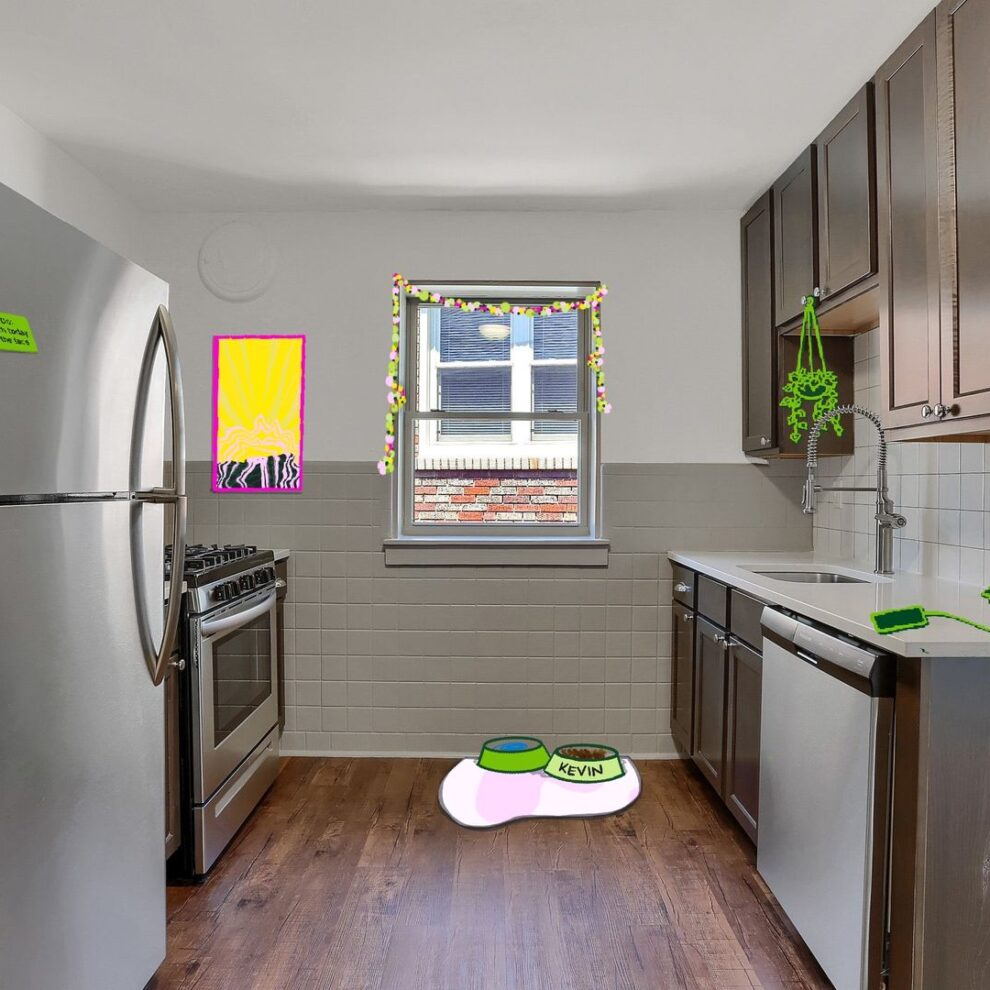 modern kitchen with illustrations superimposed