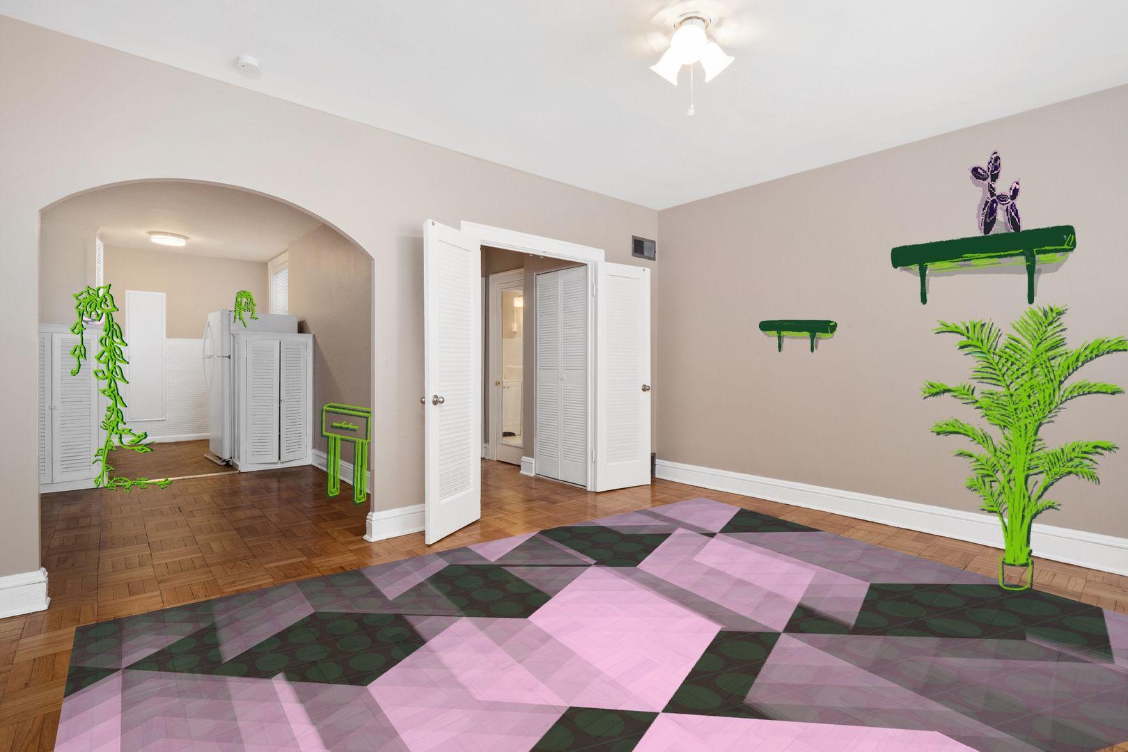 studio apartment with decor illustrations superimposed