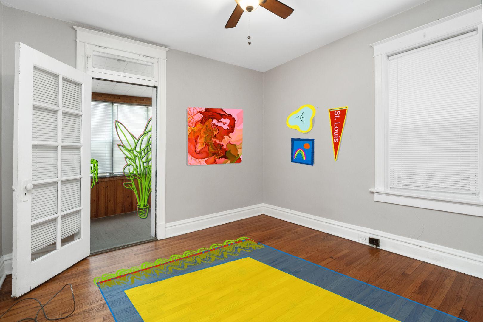 classic apartment with illustrations superimposed