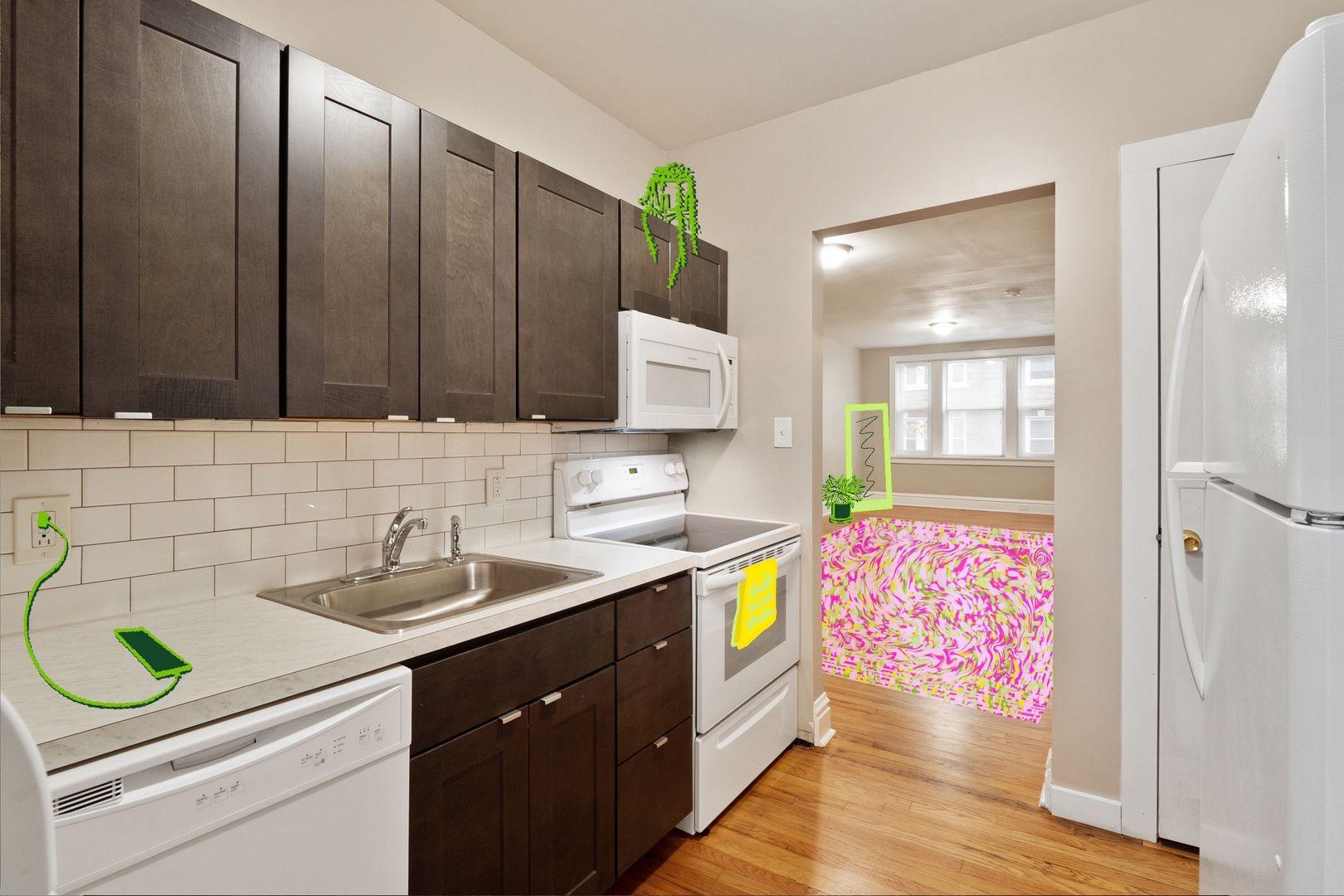 Studio apartment with illustrations superimposed