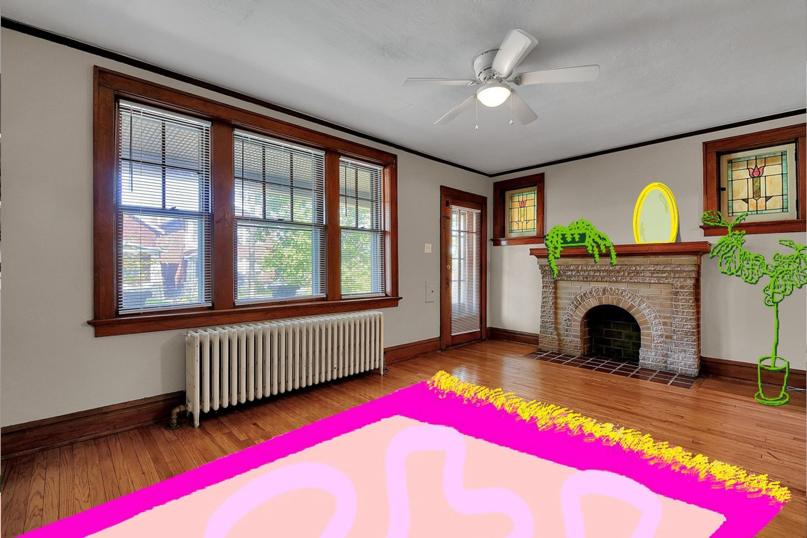 living room with fireplace, radiators, faux fireplace and illustration
